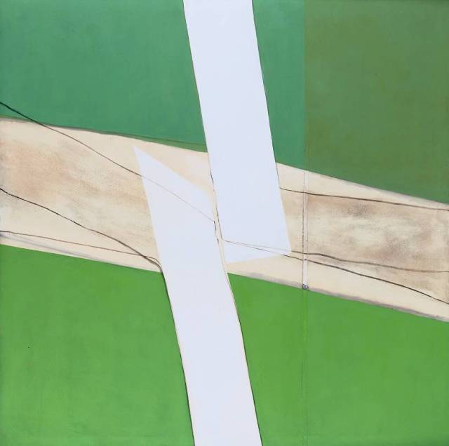 Green and White 1969 by Sandra Blow 1925-2006